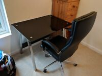 Premium glass/metal office desk and chair