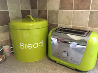 Lime Green Morphy Richards Kettle, Toaster and Bread Bin