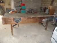 Strong, wooden carpenter's work bench with 10 1/2 inch vice.