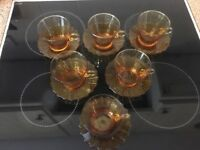 Vintage Amber Glass Coffee Set