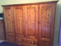 LARGE FREE STANDING, 4 DOOR PINE WARDROBE
