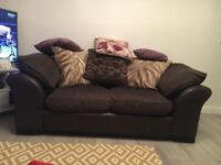 Three and two seater sofas and footstool/ storage