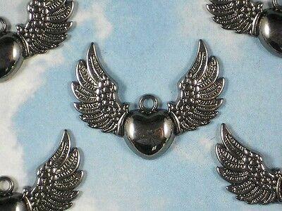 5 Flying Winged Heart Charm Steampunk Black Gun Metal 35mm Pendant #P1219 (Flying Heart)