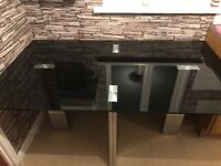 Black glass dining table (available with chairs)