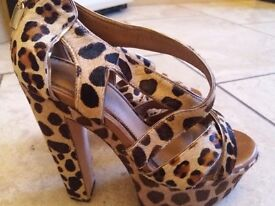 Ladies high heeled topshop sandals in textured soft animal print