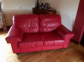 Genuine Red Leather 3 & 2 Sofas