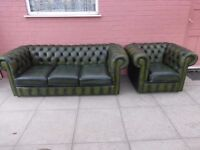 Green Leather Chesterfield Three Seater Sofa Settee And Matching Club Chair