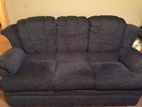 Blue Three Seater Material Sofa (£50 Ono COLLECTION ONLY)