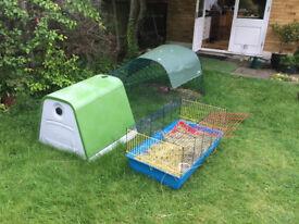 Omlet Eglu Go green rabbit hutch with 2m run incl accessories & underfloor