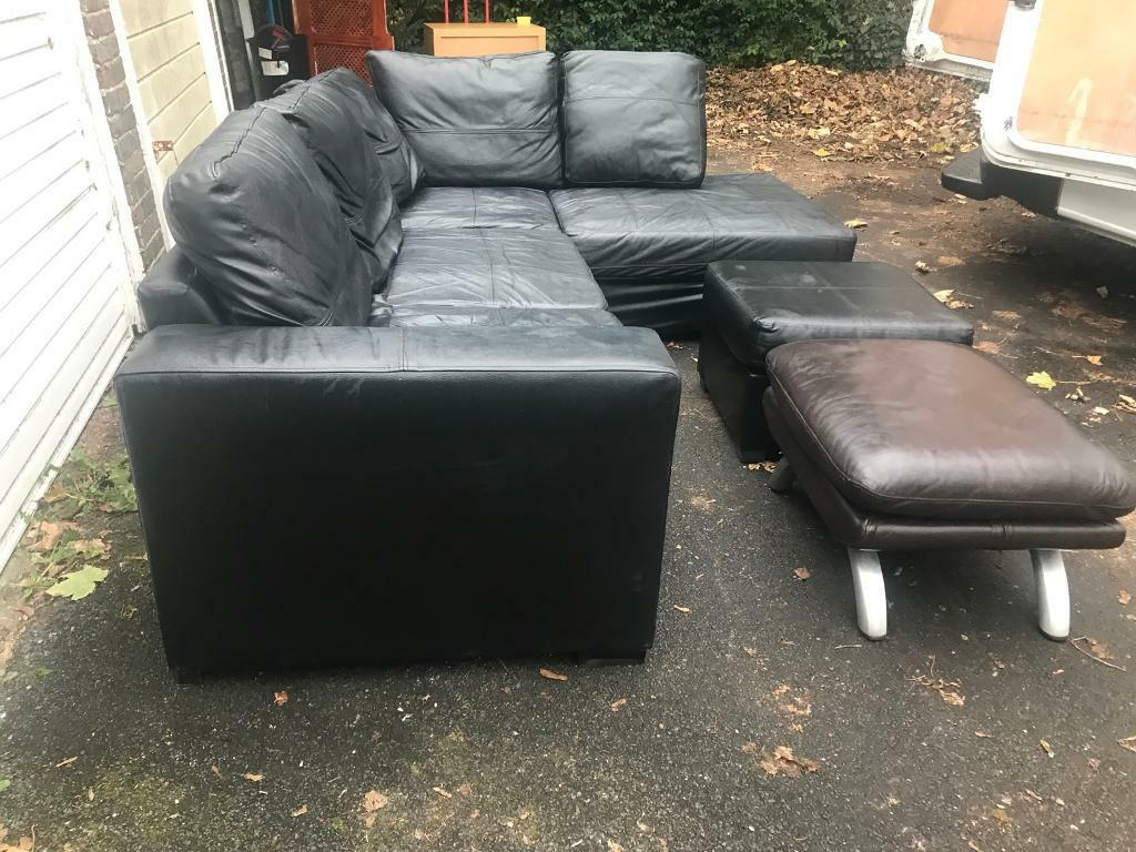 Fantastic real black leather L-sharp sofa