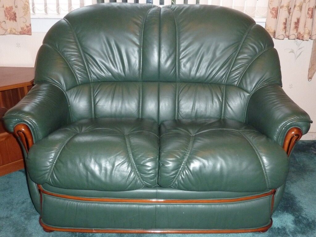 Suite two racing green leather sofas 2 seater 3 seater sofa bed