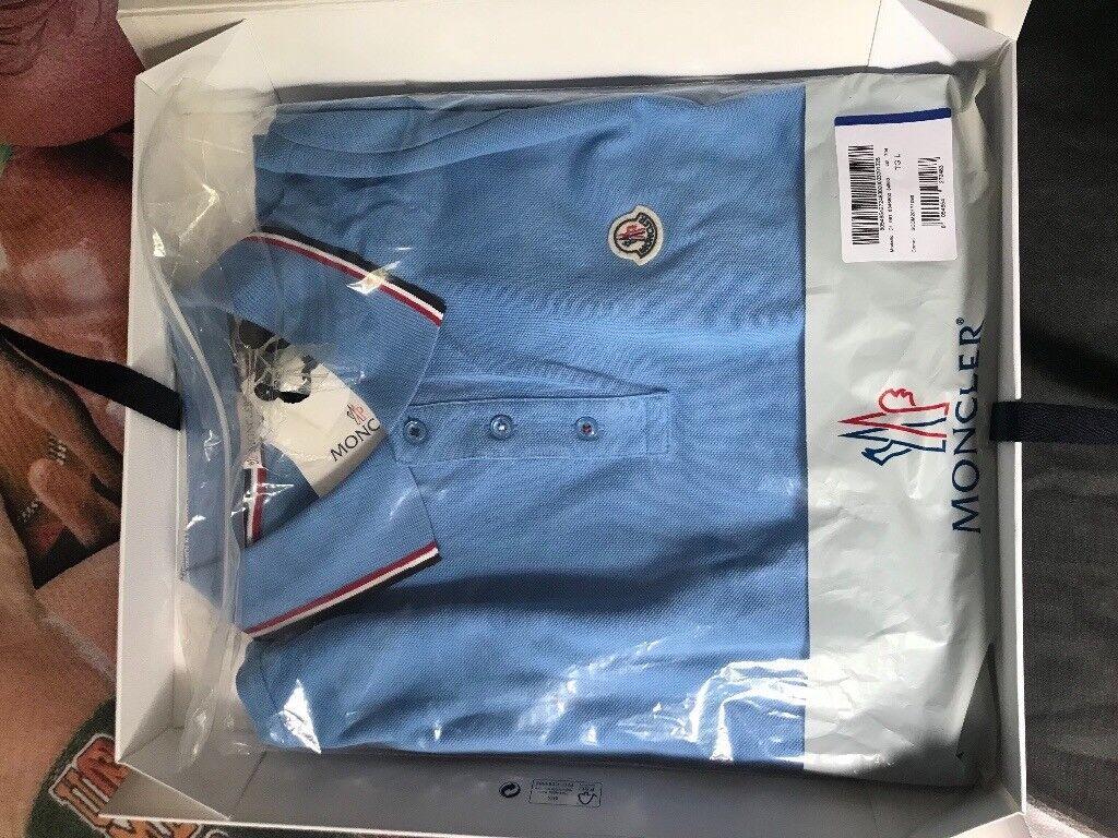 Sky blue moncler men's polo shirt