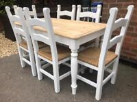 Lovely 4 1/2ft Shabby Chic Pine Farmhouse Table and 6 Chairs