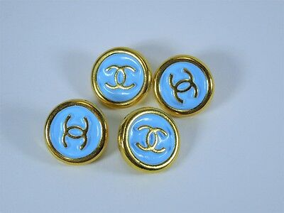 VINTAGE CHANEL REPLACEMENT BUTTON STAMPED LT. BLUE GOLD CC 18MM