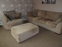 4 seater sofa, originally from SCS. Also includes twister chair and large storage footstool
