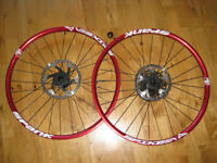 pair of 650b wheels - spank spike rims on sunringle hubs with discs + 11spd cassette + service tool