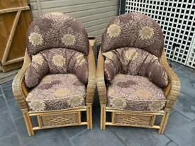 Conservatory cane chairs excellent condition
