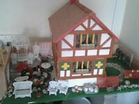 Hand made dolls house with furniture & garden furniture