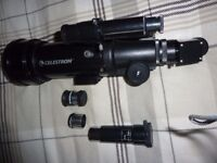 CELESTRON TELESCOPE WITH TRIPOD AND VARIOUS LENSES