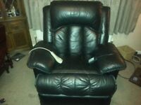 LEATHER ELECTRIC RECLINER AND MASSAGE CHAIR BLACK