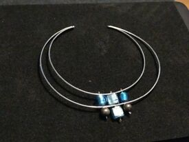 Murano glass sterling silver choker