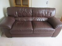 Italian leather 3 and 2.5 seater sofas with footstool