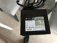 Corsair CX 650 PSU pc power supply like new
