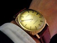 Unusual Rare 1970 ROLEX TUDOR Solid Gold SUNBURST BEZEL vintage Midsize Mens Watch