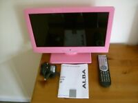 "Pink Alba 16"" TV with built in DVD player in as new condition."
