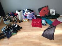 large bundle of mixed clothing/shoes and household goods