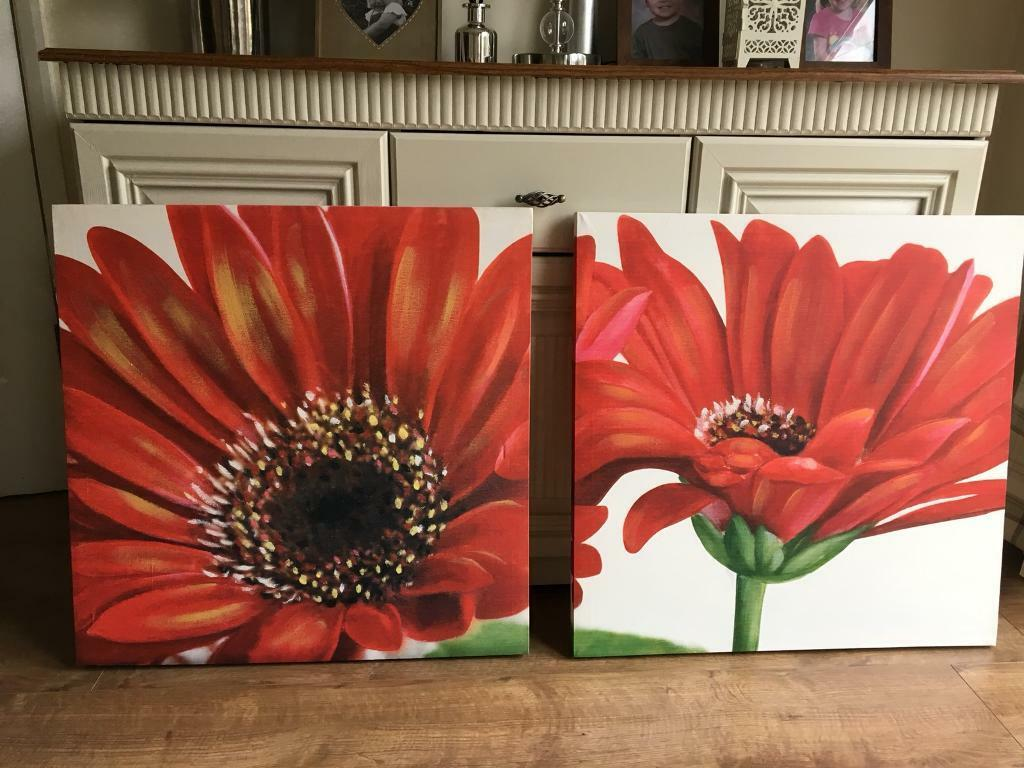 Two red flower canvas prints