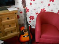 martin smith 6 string left handed acoustic guitar