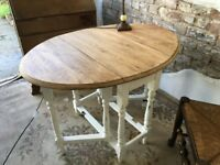 Vintage Oak Vintage Drop Leaf Gate Leg Table Stripped and Ivory Chalk Paint Legs