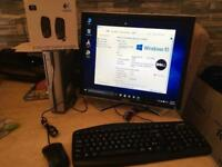 "ACER DUAL CORE MINI PC TOWER, DELL 19"" MONITOR, KEYBOARD, MOUSE & SPEAKERS."