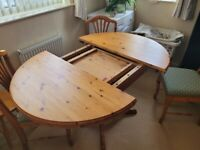 Solid wood 4 seat dinning table and chairs