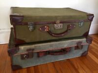 Two decorative vintage suitcases
