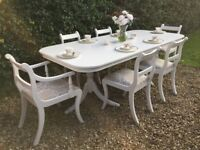 Stunning Shabby Chic Painted Extending Dining Table and 6 Chairs F&B