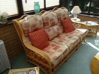 Conservatory Furniture 3 seat sofa, 2 chairs, 3 tables, & TV stand