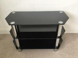 3 Tier Glass TV Stand Black