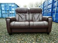 Reclining Brown Leather 2 Seater Sofa+Armchair *Excellent Condition*