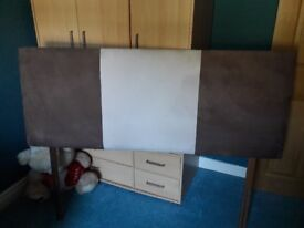 King Size Suede Cream/Brown Headboard