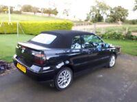Mk 4 VW Golf 2.0 Cabriolet, Black, Alloy wheels, Power Hood, Black Leather interior, needs MOT