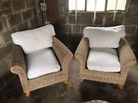 2 Ratten Chairs and a Footstool