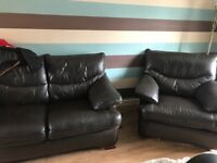 2 seater brown leather sofa and reclining arm chair