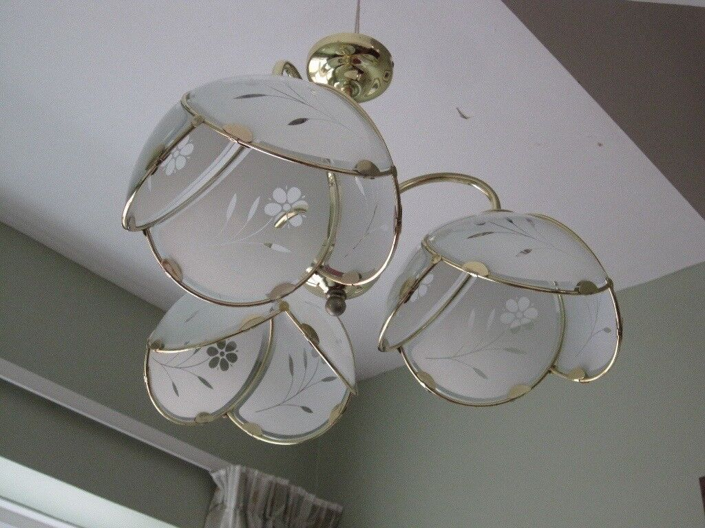Three Bulb Ceiling Light With A Pair Of Matching Wall Lights