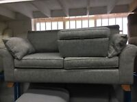 New/Ex Display Gray Cargo Grayson 3 Seater Sofa + Footstool