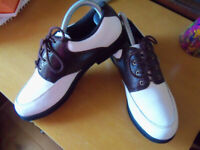 Boys Or Ladies Golf Shoes Size 5 White & Brown Plus New Glove