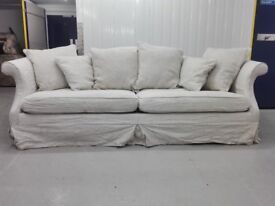 Massive 4 seater linen fabric sofa settee in perfect condition / free delivery