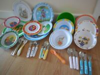 Cutlery, bowls, plates, for babies and toddlers.