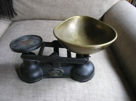 Vintage Pair Black Cast iron Kitchen Weighing Scales Weymouth